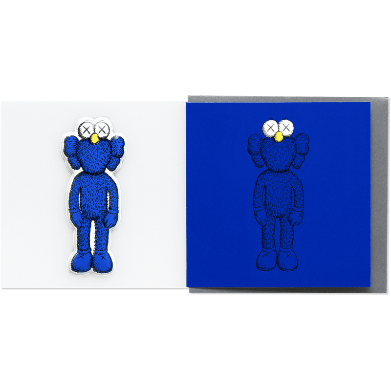 Kaws Greeting Card With Puffy Sticker Companion - Blue