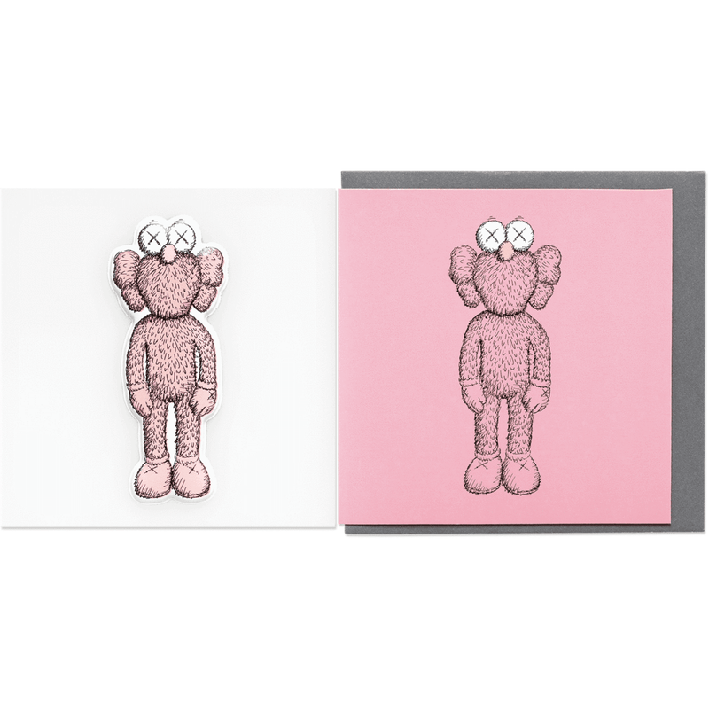 Kaws Greeting Card With Puffy Sticker Companion - Pink