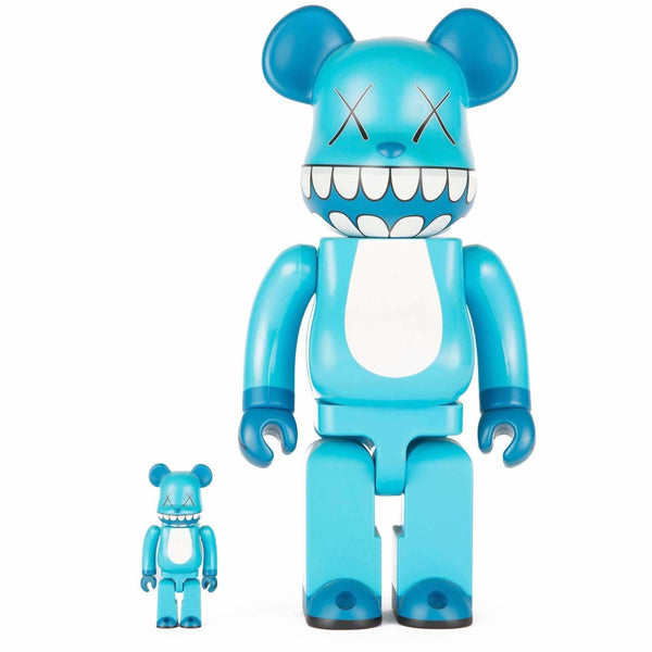 KAWS X 100% & 400% Bearbrick Set (2003) - Blue Chompers