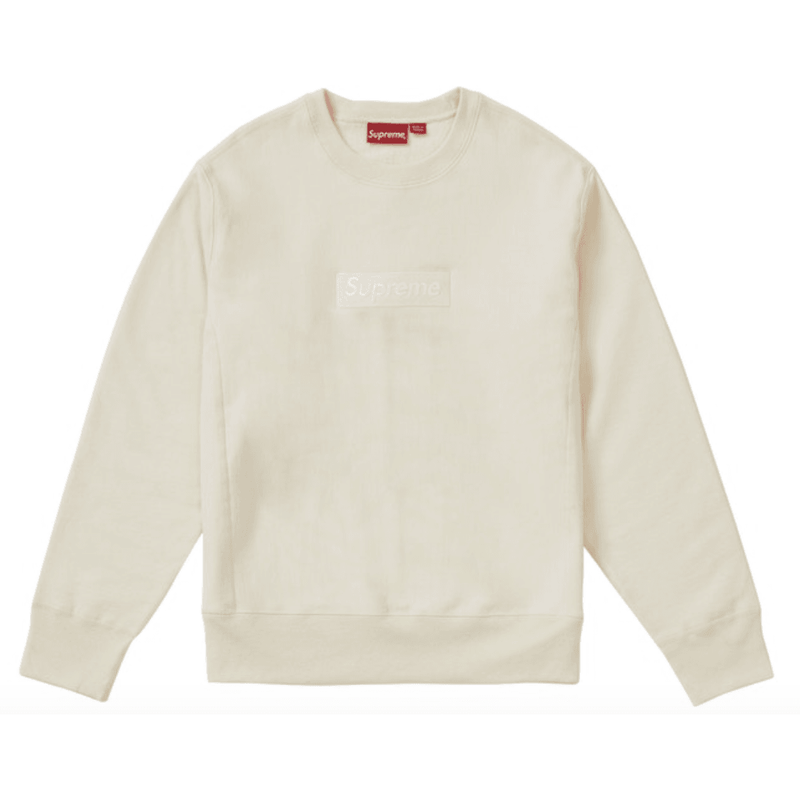 Supreme box logo Crewneck (FW18) - Natural