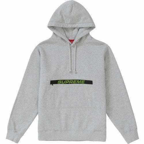 Supreme Zip Pouch Hooded Sweatshirt Heather Grey
