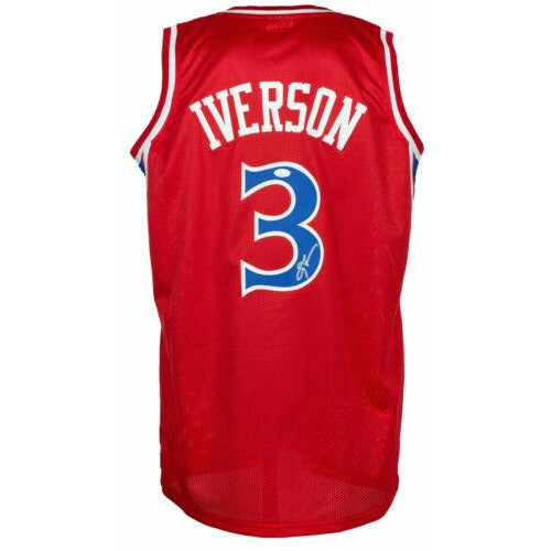 Allen Iverson Signed Custom Red Pro Style Basketball Jersey - PSA AI46941