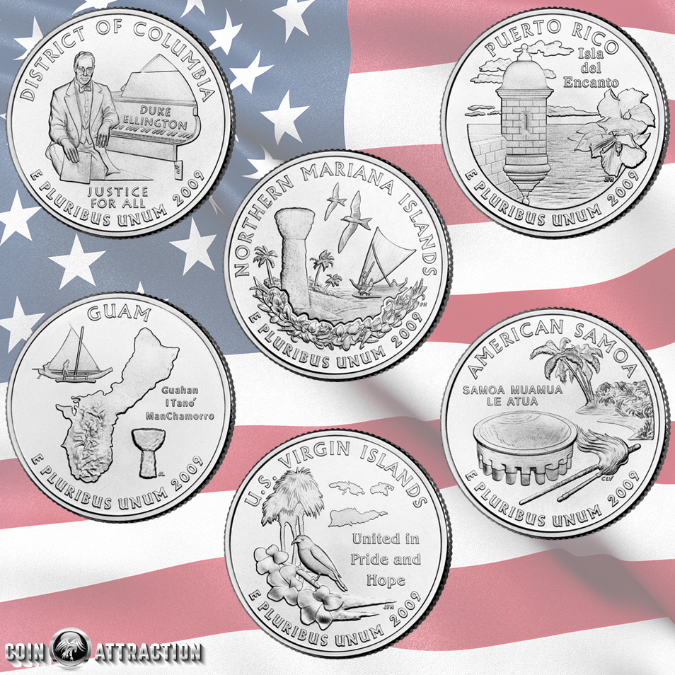 Territories Uncirculated Set 2009 Quarters District Of Columbia and U.S