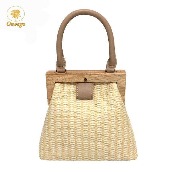 Oswego Straw Bag 2019 New Fashion Wooden Clip Women Shoulder Bag Summer Travel Beach Bag Luxury Handbags Women Bags Designer