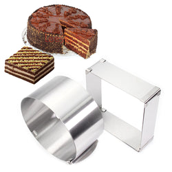 Stainless Steel  Adjustable Cake Mousse Ring  set of 2, Round & Square Cake Mould