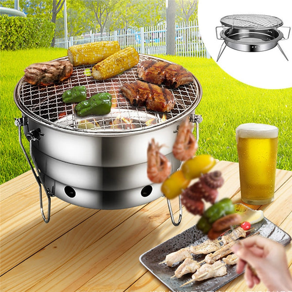 High quality Barbecue Grills Stainless Steel BBQ Burner Oven Outdoor Party Portable Round Foldable Picnic Stoves Heating Stove