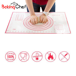 BAKINGCHEF 2 PCS/set Large+Small Silicone Baking Mat Pizza Dough Maker Pastry Kitchen Gadgets Cooking Utensils Bakeware Supplies