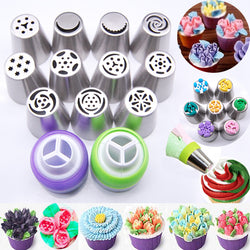 13PCS Stainless Steel Cake Nozzles Russian Tips Tulip Icing Piping Nozzle Fondant Cake Decorating Tools Cakes Mold