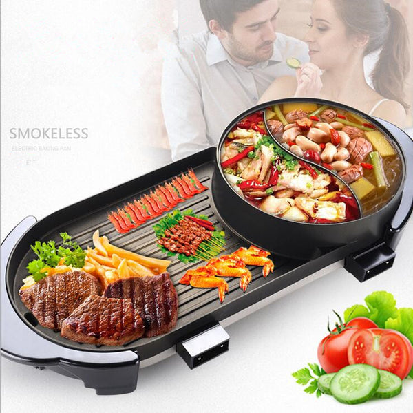 2 In 1 Home BBQ Grills +Dual Site Shuba Hot Pot Smokeless Nonstick Electric BBQ Barbecue Grill Indoor Roast Meat Equipment