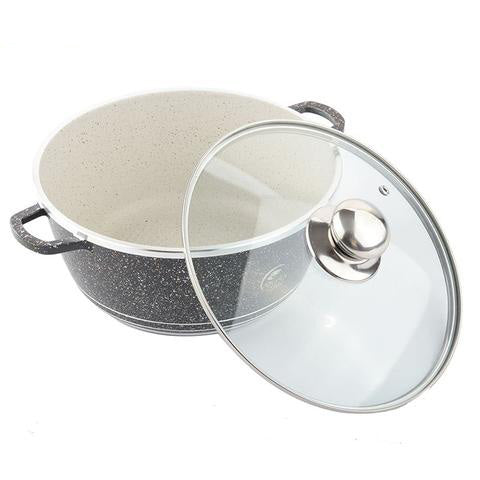 Cooking Pot With Glass Lid Non-stick Coating Black Soup Pots Professional Kitchen Cooking Tools