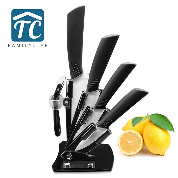 Ceramic Knife 3 4 5 6 inch with Knife Holder Kitchen Knife Zirconia White Blade Fruit Vege Chef Knives Cook Set