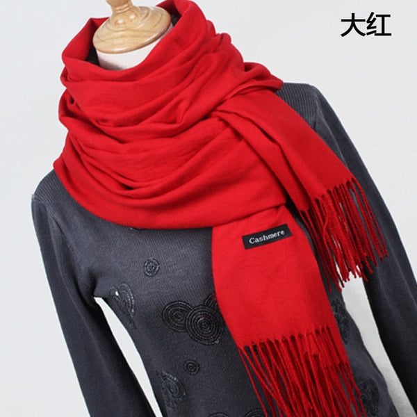 745d2a030f2f2 Women solid color cashmere scarves with tassel lady winter thick warm scarf  high quality female shawl