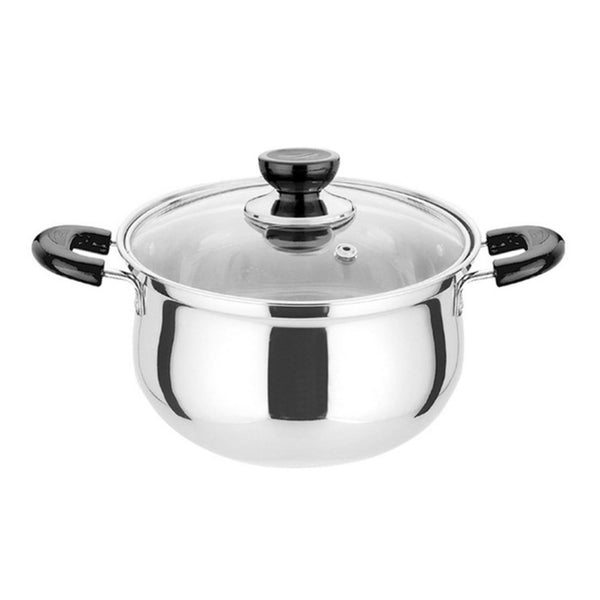 Thickened Stainless Steel Cooking Pot With Glass Cover Dual Handles Cookware Sauce Pot
