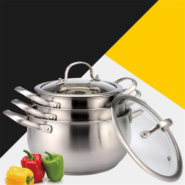 Thickened bottom stainless steel soup pot with double handle and glass cover induction and gas cooker non-stick highend pot