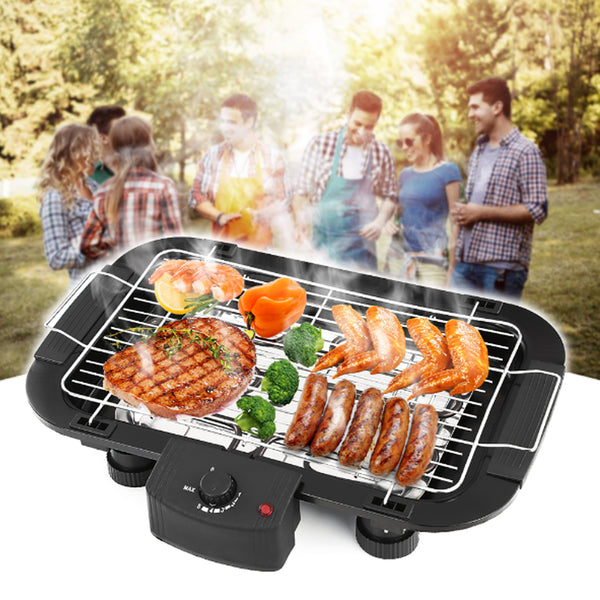 Non Stick Electric BBQ Teppanyaki Barbeque Grill Griddle EU Plug Table Top Smokeless Rustless and Durable Adjustable Temperature