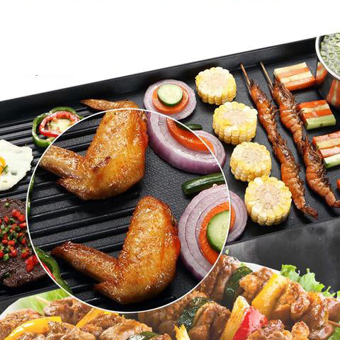 220V Kitchen Electric BBQ Grill Teppanyaki Non-stick Surface Hot Plate 1500W Adjustable Temperature Incredibly Versatile