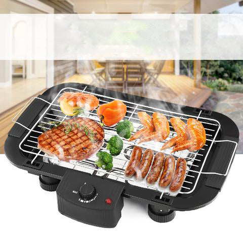 Non Stick Electric BBQ Teppanyaki Barbeque Grill Griddle Table Top Smokeless EU Plug Rustless and Durable Adjustable Temperature