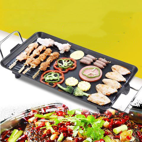 Electric BBQ Grill Kitchen Teppanyaki Non-stick Surface Adjustable Temperature Incredibly Versatile