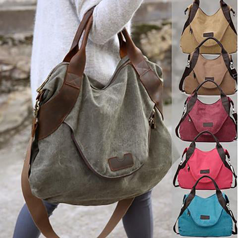 Large Pocket Casual Tote Women's Handbag Shoulder Handbags Canvas Leather Capacity Bags For Women