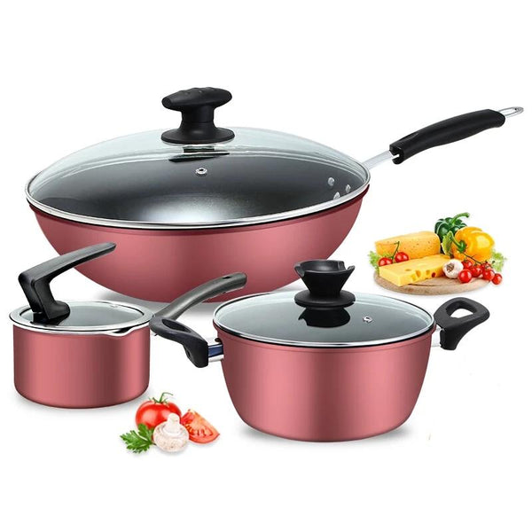 Easy To Clean Less Oil Smoke Non-stick Pan Soup Pot Saucepan Pot Three-piece Fitted Set Gas Stoves Induction Cooker Universal
