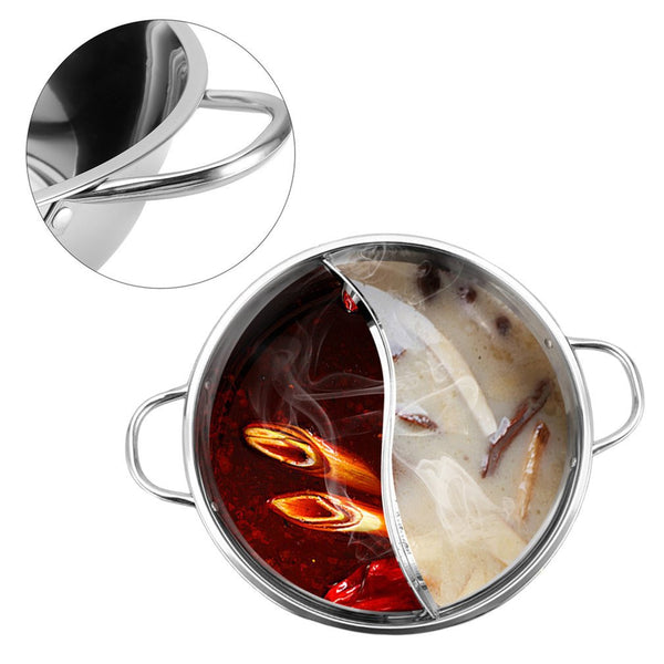 Cooking Pot Stainless Steel Single-Layer Glass Cover Cooking Pot Double Ear Duck Mandarin Fondue Hot Pot
