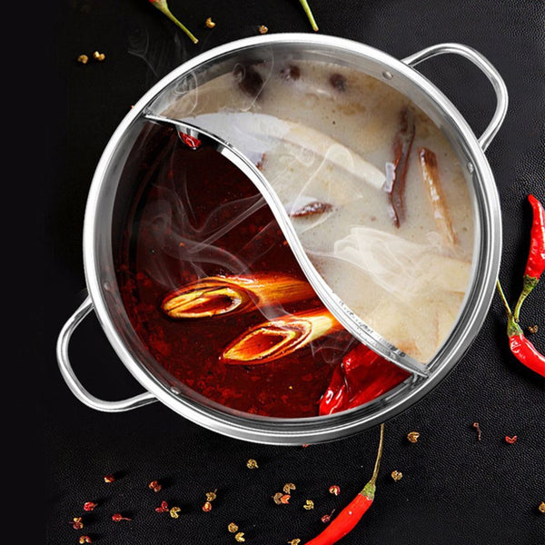 1pc Cooking Pot Stainless Steel Single-Layer Glass Cover Cooking Pot 30cm Double Ear Duck Mandarin Fondue Hot Pot Cooking Pot