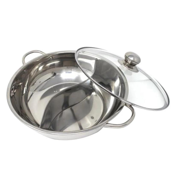 Multifunctional Stainless Steel Double Hot Pot Cookware Non-stick Cooking Pots With Glass Lid