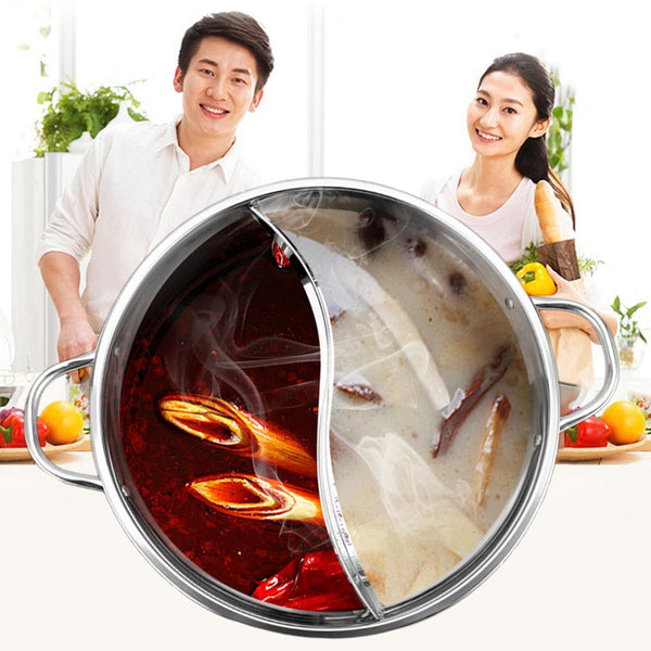 1pc 30cm Cooking Pot Stainless Steel Single-Layer Glass Cover Cooking Pot Double Ear Duck Mandarin Fondue Hot Pot