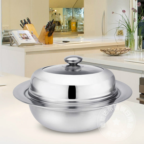 Thicken Stainless Steel Multipurpose Stockpot Double Layer Steamer Pot Hot Pot Glass Lid Apply to Gas and Induction Cooker