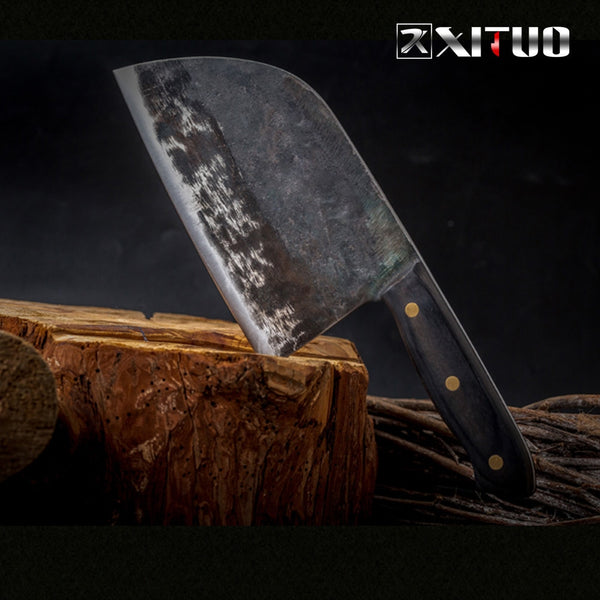 XITUO Full Tang Chef Knife Handmade Forged High-carbon Clad Steel Kitchen Knives Cleaver Filleting Slicing Broad Butcher knife