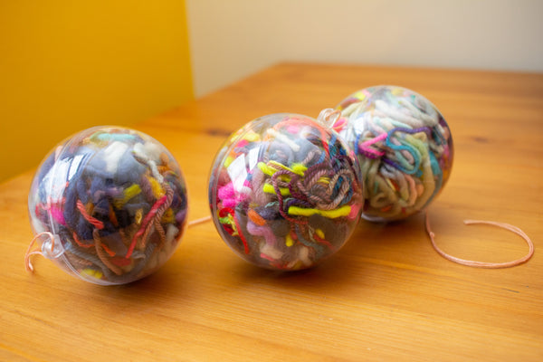 holiday yarn scrap ornaments (package of 3)