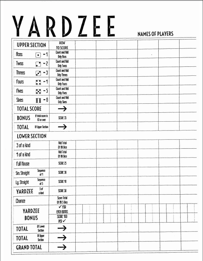 It's just a photo of Free Printable Yardzee Score Card regarding bunco scorecard