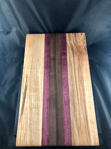 Large, thick solid wood cutting board - made with ambrosia maple, purpleheart and walnut wood