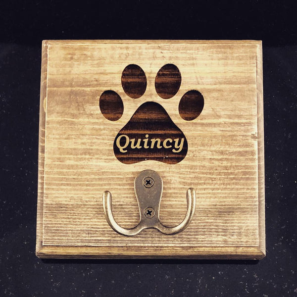 Custom Engraved Pet Leash Holder with Hook in Pine (available in 3 colors) - A Good Turn Colorado