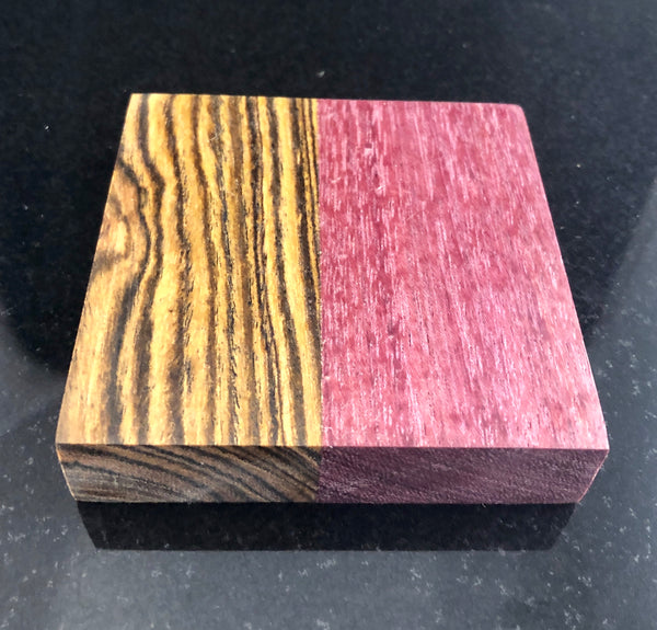 Purpleheart and bocote wood coasters
