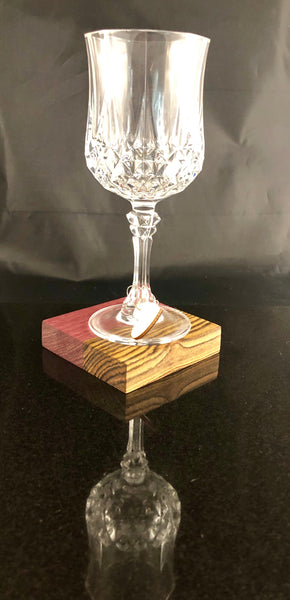 Example of wine glass on handmade coaster