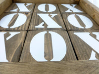 Jumbo tic tac toe, aged gray or walnut stain with vinyl letters