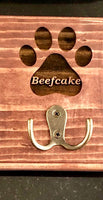Custom Engraved Pet Leash Holder with Hook in Pine (available in 3 colors)