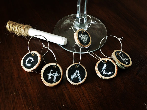 Set of 6 Chalkboard Wine Charms (Write on/Write Off) - A Good Turn Colorado
