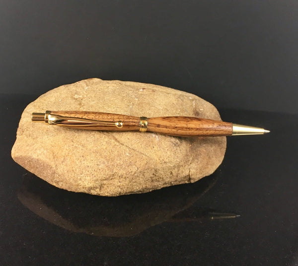 Mechanical Pencil Made with Zebrawood and Gold Accents - A Good Turn Colorado