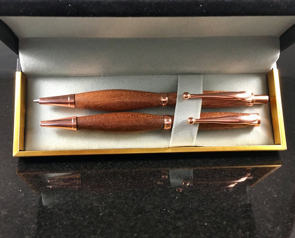 Sapele (Mahogany) Wood Pen and Pencil Set with Copper - A Good Turn Colorado