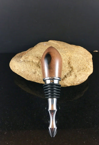 Ebony Wood Wine Stopper with Chrome Hardware