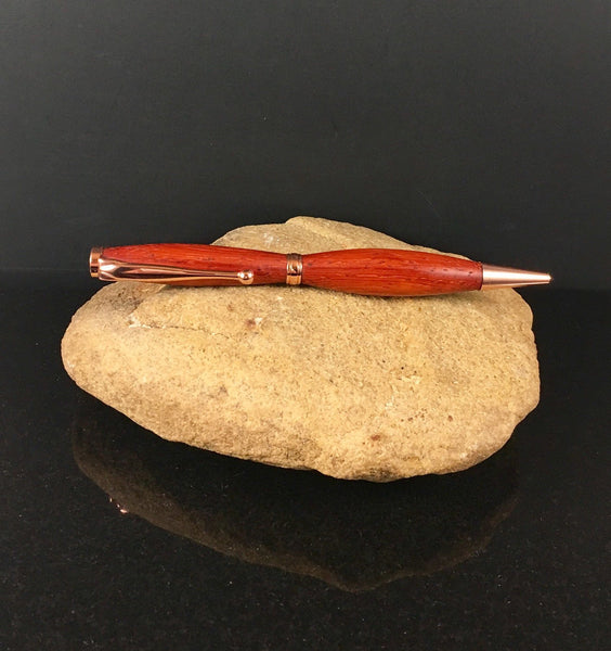 Padauk Wood Pen with Copper Hardware - A Good Turn Colorado