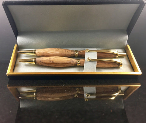 Pen and Pencil Set with Jack Daniels Wood and Gold Hardware