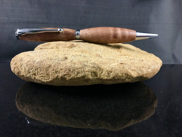 Quilted Maple Wood Pen with Chrome Hardware - A Good Turn Colorado