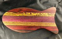 Fish Shaped Cutting Board in  Walnut, Padauk, Bocote, and Purpleheart Solid Wood - A Good Turn Colorado