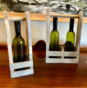 Aged Gray Wine Tote/Caddy