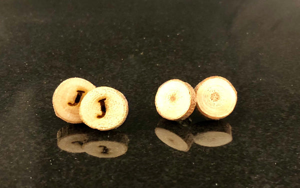 Wood slice stainless steel stud earrings - A Good Turn Colorado