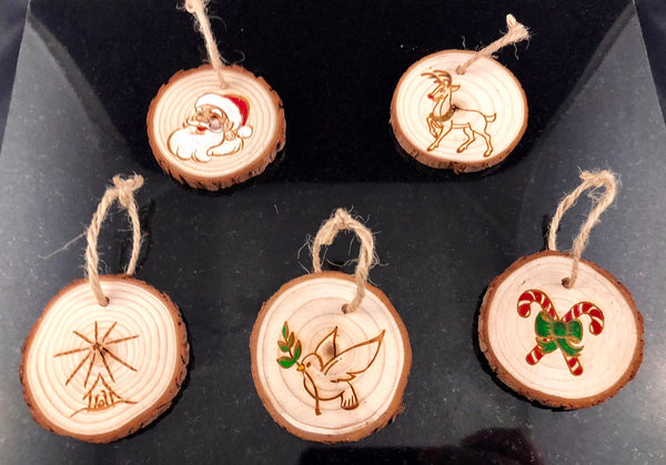 Holiday Wood Slice Rustic Ornaments - A Good Turn Colorado