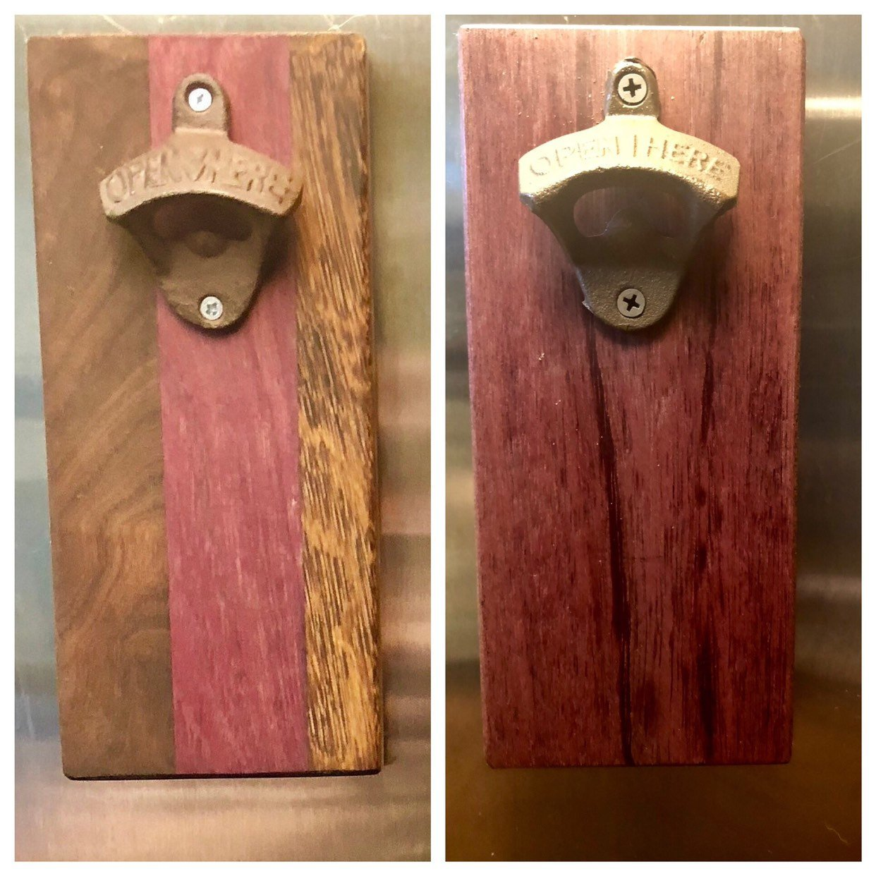 Cutting Board Style Magnetic Cast Iron Bottle Opener in premium hardwoods